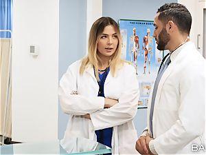medic and nurse Blair Williams plumb in polyclinic