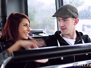 Madison Ivy and Jasmine Jae are plowed on a bus