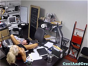 smallish waitress ate and drilled in the office