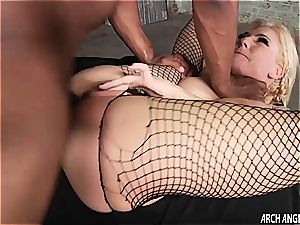 petite light-haired plumbed in the rump by thick black jizz-shotgun