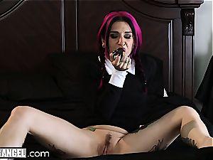 Wednesday Addams gets taut pink pucker pummeled