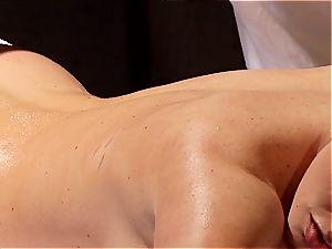 ultra-kinky masseuse makes Krissy Lynn jiggle after sensual enjoy making