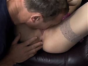 Beata fucked in bare thigh high tights