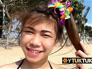 super hot asian damsels are seduced at beach into fuckin' insatiable tourist