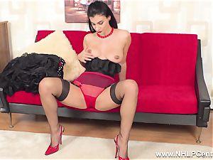 buxomy black-haired jerks in sheer RHT nylons red heels