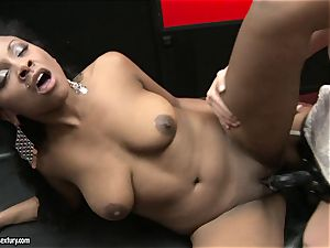 rough Kathia Nobili shoves her string on fuck-stick deep down her accomplice facehole