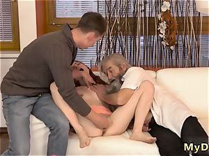aged guy cums inwards woman sudden practice with an elderly gentleman