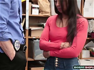 stud officer porks Lilly Halls raw cooter in the office