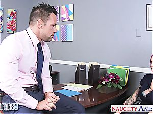Anna Bell Peaks moist at the office for a superb fuck