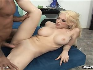 Smoking super-hot blonde with large fun bags gets boinked stiff