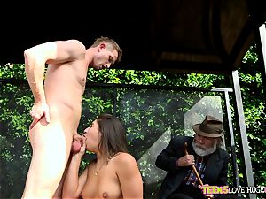 funny situation of cootchie rammed daughter and her granddad watches at bus stop - Abella Danger and Bill Bailey