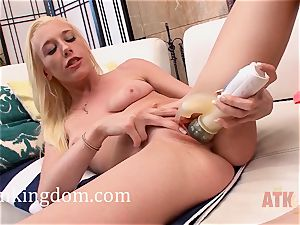 youthfull platinum-blonde Roxy Nicole using a plaything to get off