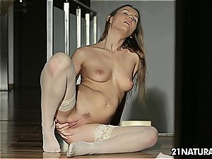 Sabrina finger-tickling herself in thigh high nylons
