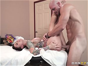 Monique Alexander packed nut sack deep in her taut muffhole