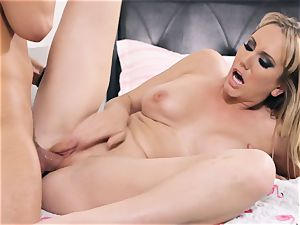 Brett Rossi takes some rigid dick testicles deep in her slit