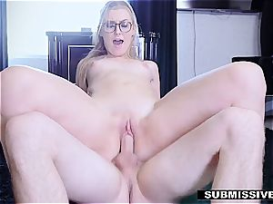 steamy blonde plays a bad lady at the office and gets slapped