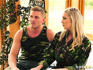 Army honeys Lexi Lowe and Stella Cox get a double helping of salami