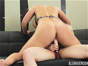 Alura Jenson cooter packed with strap dildo strenuous muscular chick Brandi May