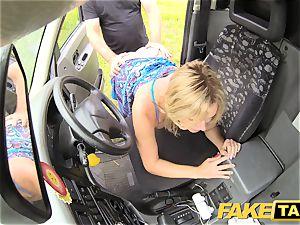 fake cab Mum with congenital mammories gets large british trouser snake