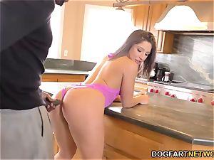 Abella Danger takes ebony rod in the kitchen