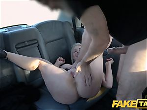 faux cab ash-blonde mummy Victoria Summers pounded in a taxi
