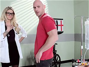 super-fucking-hot doc Jessa Rhodes checks out this yam-sized weenie