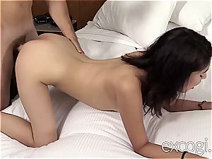first-timer Latina humps while her buddy is witnessing
